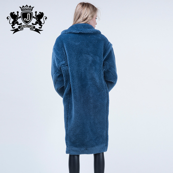 Vogue Trend Dyed Royalblue Import Sheep Shearing Fur Long Overcoat Fashion Luxury