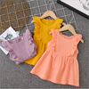 hot sale linen dress baby kids frock designs pictures wholesale fashion baby clothes girls muslin dress