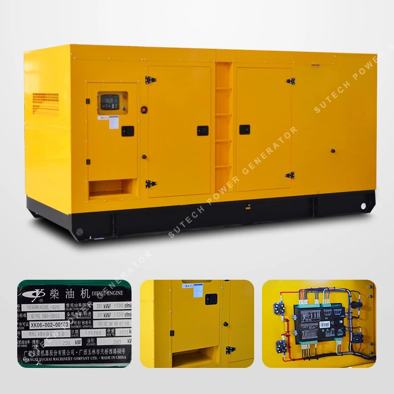 Open type  diesel generator supplier 300kva YUCHAI engine YC6MK420L-D20 price