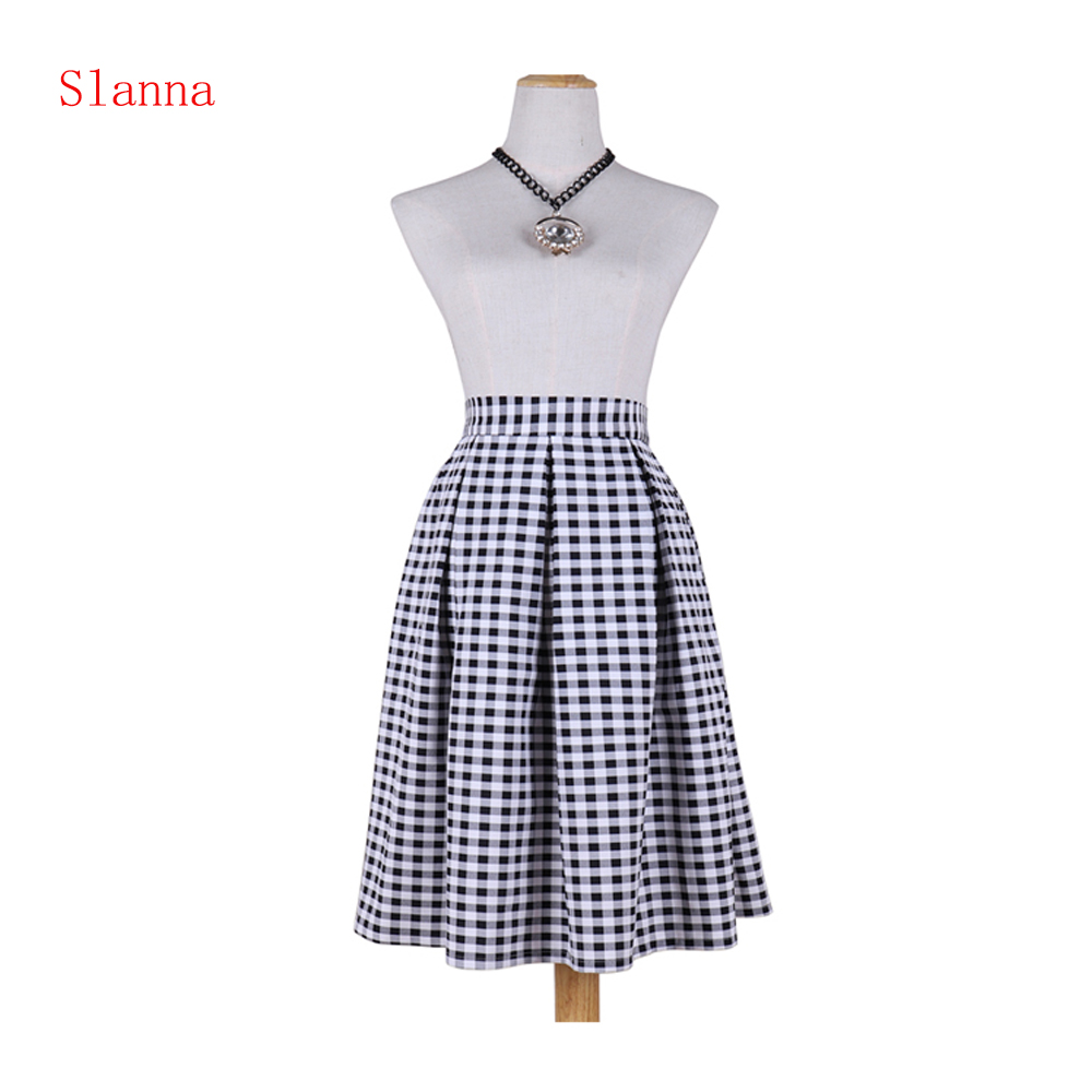 Slanna new classical fashion grace plaid A-line pleated high waist pockets flared slim fit casual midi skirt for women