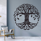 One-Stop Service [ Vinyl Home Sticker ] Mandala Circle Trees Vinyl Wall Decals Home Decor Fitness Yoga Tree Wall Sticker Tree Of Life Yoga Studio Wall Murals