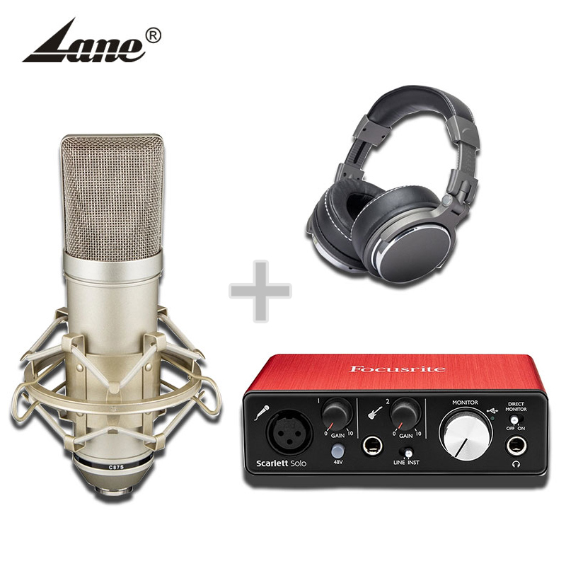 Professional earphone studio recording microphone and Focusrite sound card set