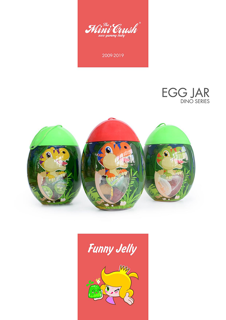 Snack Food Mini Fruit Jelly in Dinosaur Egg Toy Jar