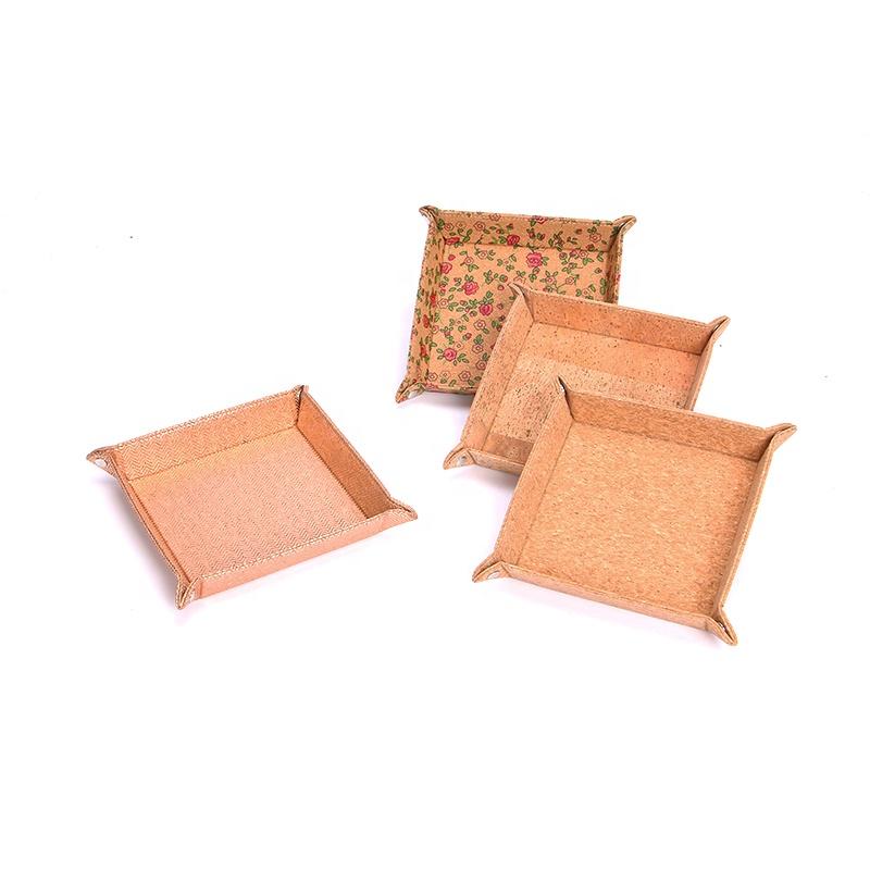 3 パック再利用可能な食品収納プレートラウンド正方形のコルクキャンディープレートエコ自然木製メタリックコルクフルーツプレート印刷