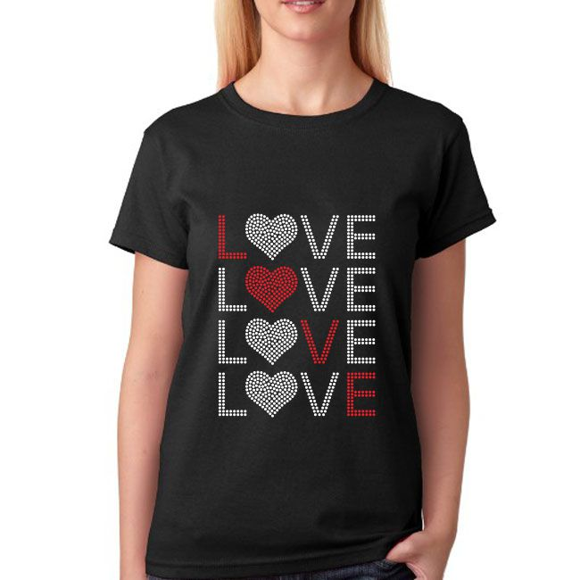 Custom LOVE Strass Transfer Designs Hotfix Frauen Strass T-shirts Großhandel
