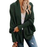 Hot Sales Fashion Womens Outwear Open Front Cardigan Sweaters Batwing Sleeve Shawl Collared Oversized Eco Acrylic Sweater Jumper
