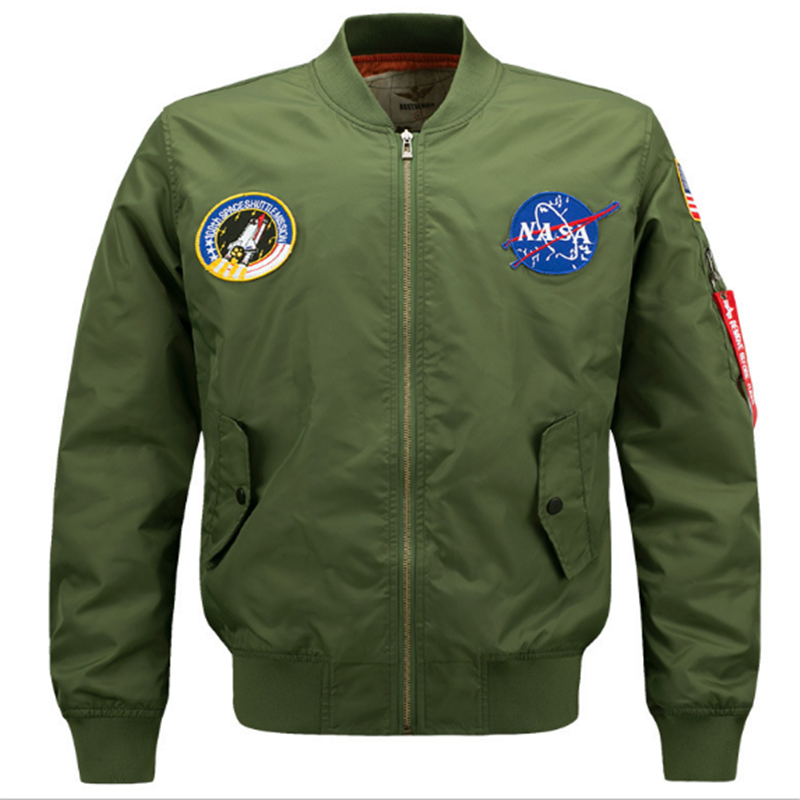 European fashion kühlen casual plus größe 3xl 4xl 5xl flug abzeichen patches zipper up pilot mantel jacken