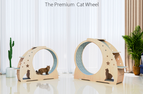 Solid wood multi-function cat treadmill Premium cat sports running wheel of cat climbing rack with oversized roller