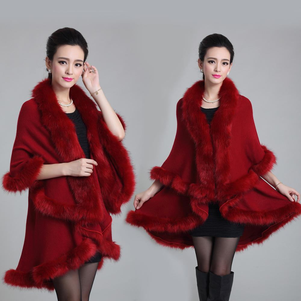 Hot Sale Chinese Women Viscose <strong>Wrap</strong> <strong>Faux</strong> Fox Fur Trim Pashmina Shawl