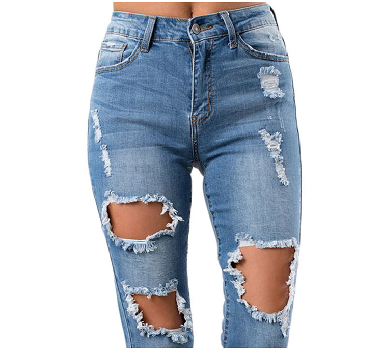 Fancy girls stylish trousers female women ripped destroyed denim damaged jeans