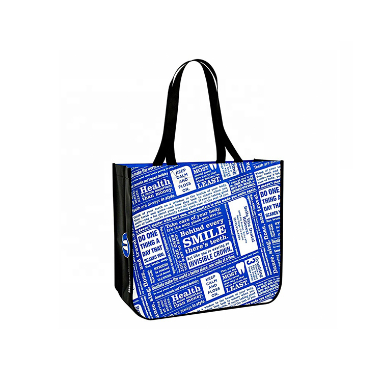 Hot selling custom logo printing eco pp laminated tote non woven bag for shopping