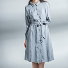 Autumn Temperament Fashion Gray Blue Square Collar Shirt Casual Women Dresses Ladies Clothing