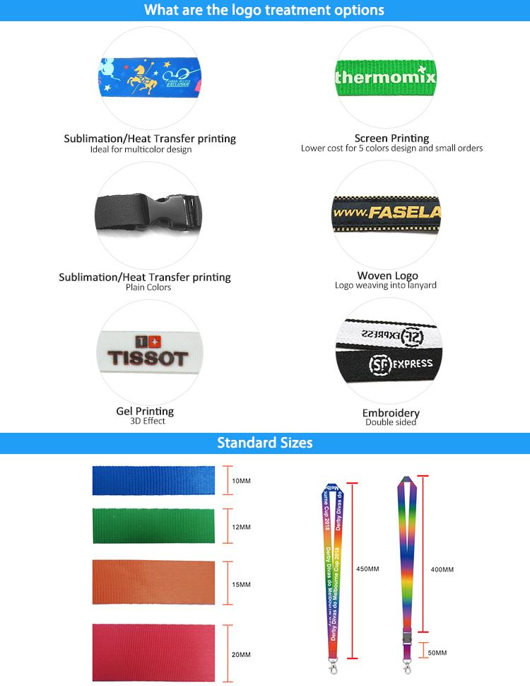 ポリエステル昇華熱伝達印刷ネックキーホルダー ID カードバッジホルダーカスタムストラップ