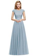 Элегантное кружевное шифоновое длинное платье подружки невесты 2020 очаровательное свадебное платье с коротким рукавом бургундское платье ...(China)
