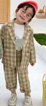 Весенний клетчатый костюм комплект одежды в Корейском стиле для мальчиков и девочек, пальто с длинными рукавами и штаны, комплекты из 2 пред...(Китай)
