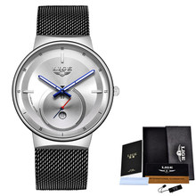 Relogio Feminino 2020 LIGE женские часы, синие модные часы, женские водонепроницаемые часы, тонкие кварцевые женские часы, Relojes Mujer + Box(China)