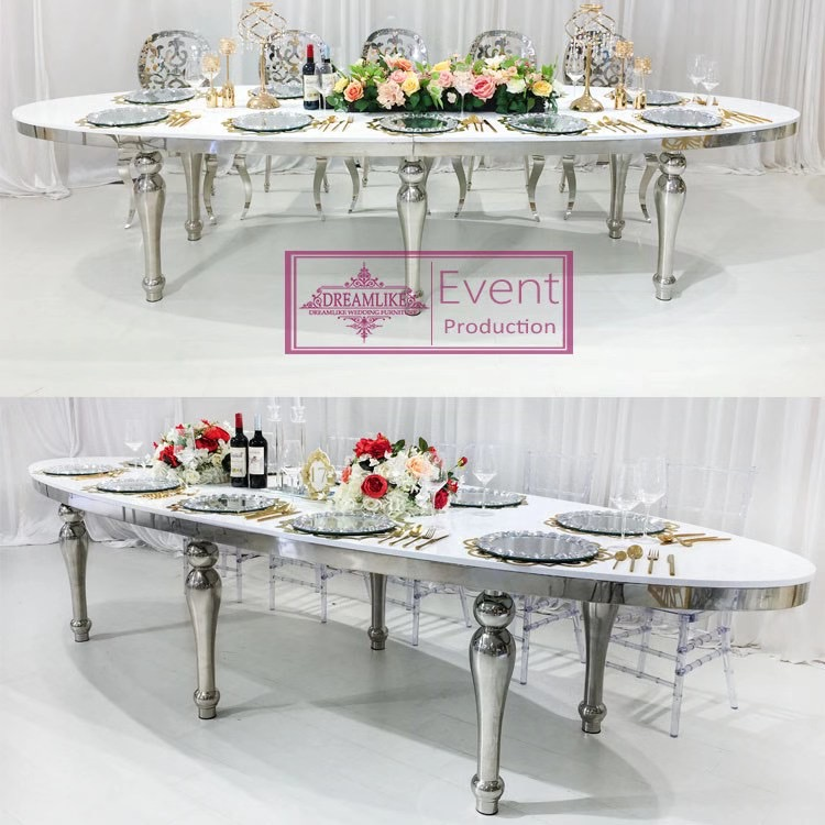 wedding furniture 10 seats mirror glass top silver stainless steel dining table
