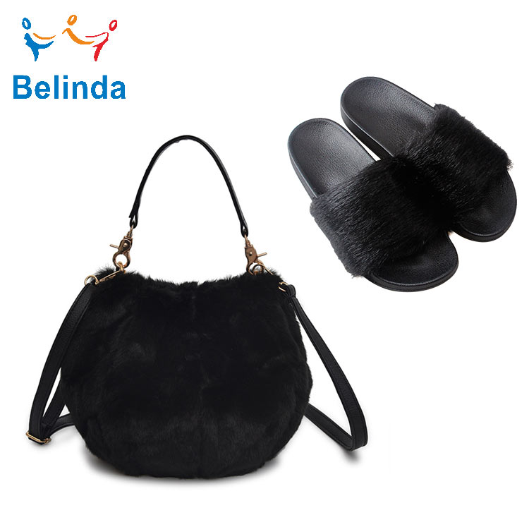 Women Faux Sandals Custom Purses And Slippers Sets Lady Crossbody Bag Grey Fur Slides