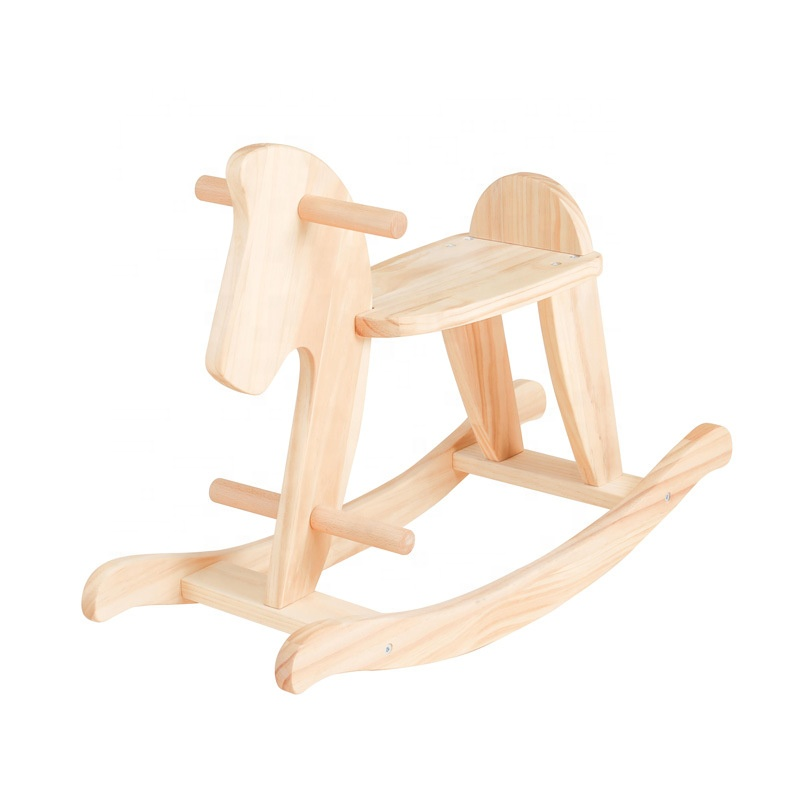 Christmas decoration baby gift solid wood wooden rocking horse chair riding horse toy