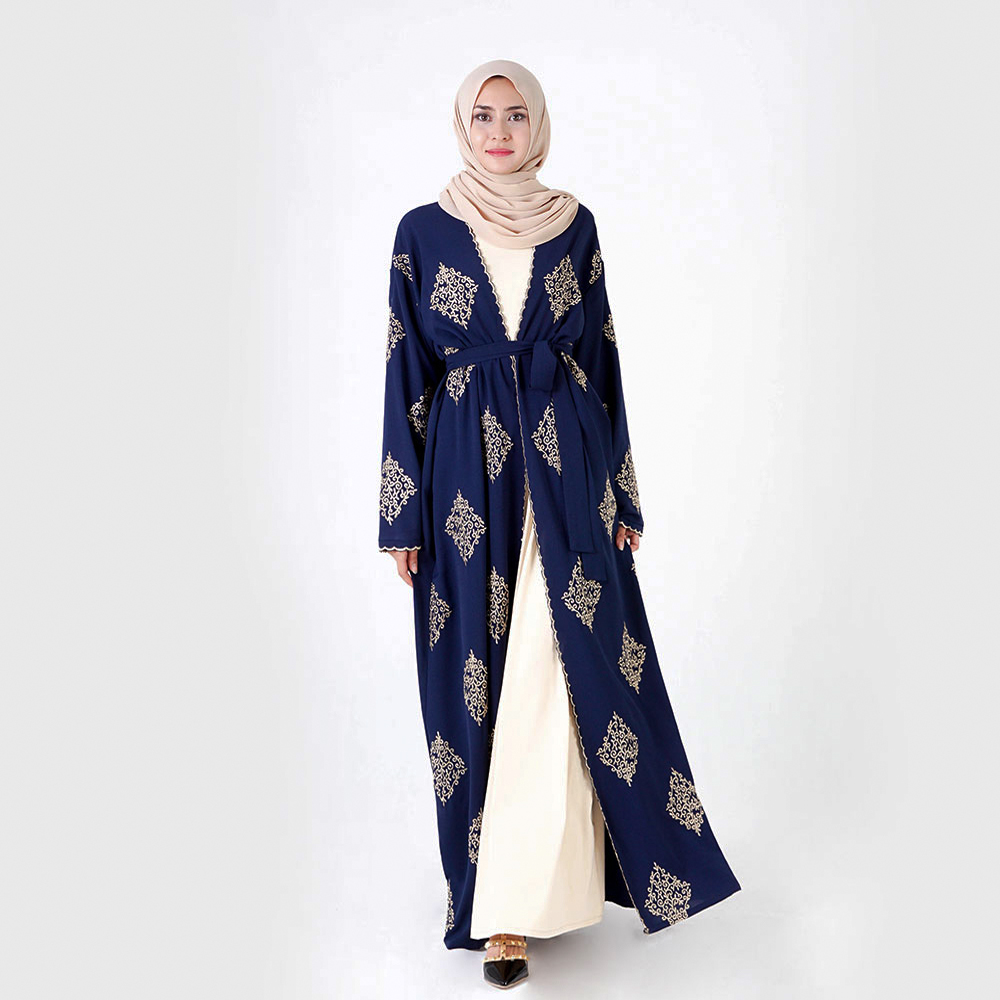 2019 latest design islamic abaya Gold line positioned embroidery driving clothing muslim kimono abaya