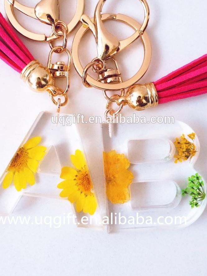 Arte de la resina de la joyería de girasol letra inicial llavero lavanda Rosa peonía crisantemo real seca flor alaphabet llavero