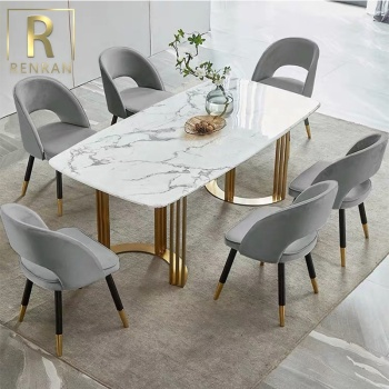 Nordic style dining room furniture set specific use and metal material marble dining table foshan