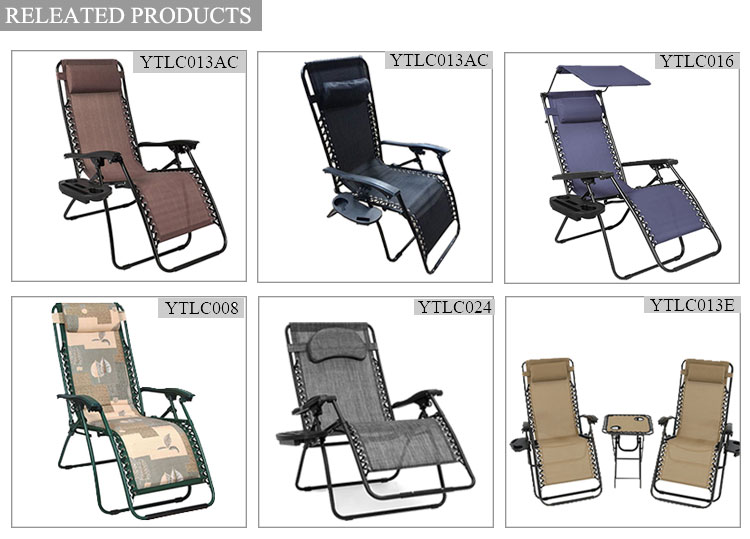 Folding recliner zero gravity chair whit sun shade steel folding reclining beach lounge chairs
