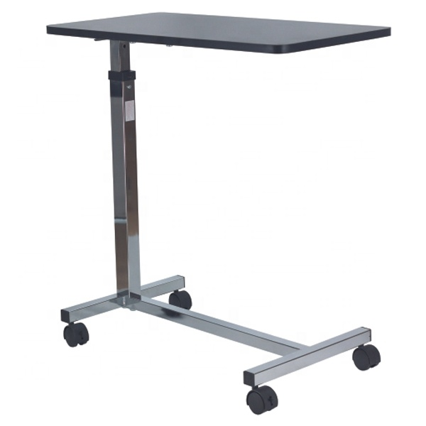 Adjustable Gas-Spring Overbed <strong>Table</strong> with wood grain top for hospital and home use SC-OT05