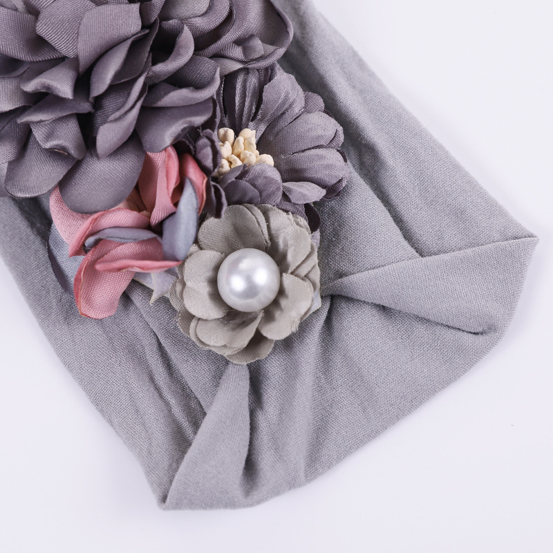 Wholesale new style flower head wrap nylon elastic headband for baby hair accessories