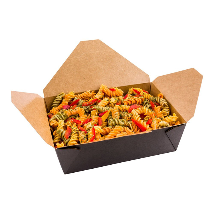 Disposable kraft paper box for packaging food