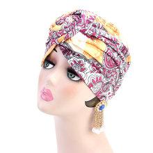 Эластичная Повязка на голову из хлопка с принтом в африканском стиле для женщин, эластичный головной убор, тюрбан, головной платок для женщи...(Китай)