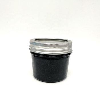 4oz small glass black jar with silver metal cap for juice, fruit jelly, baby food