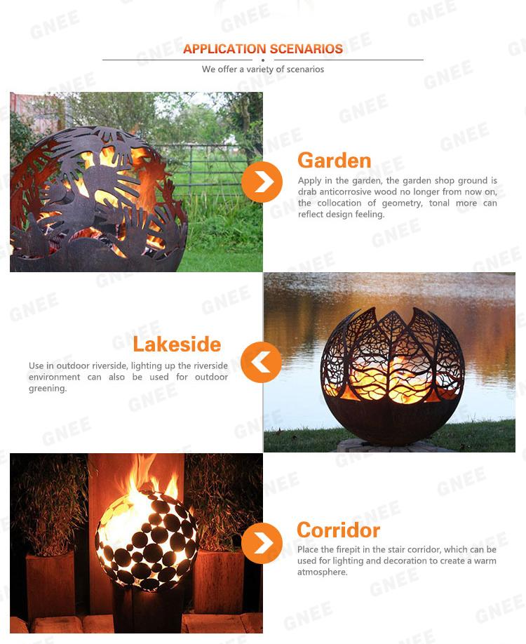 Modern Design Outdoor&Indoor Garden Art Corten Steel Fire Pit
