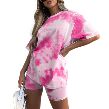 Summer Color Blocking Fashion Women Casual Clothing 2 Two Piece Outfits Set Tie Dye