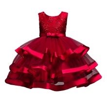 Children dress  girls party dresses Sleeveless computer embroidered dress Host party costumes 2091
