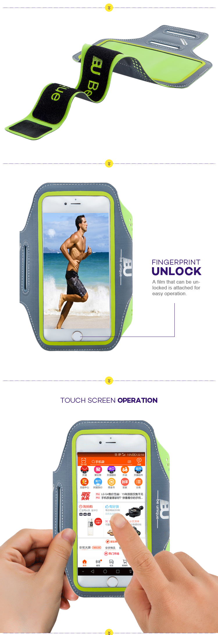 wholesale best iphone 8 running armband Night Safety Led Flashing Light Up apple iphone armband