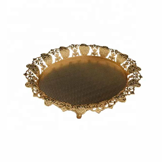 Arabic luxury metal gold plated oval shape food fruit cup serving tray