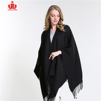 Cashmere Turtleneck Winter Cozy Stylish Loose-Fitting Shawl Cloak Woolen Organic Poncho Sweater