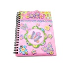 Pink spiral binding notebook for girls with pocket and mini pads