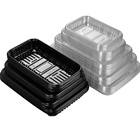 Disposable PET Blister Vegetable And Fruit Packaging Black Transparent Food Plastic Trays