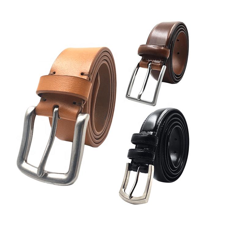 Alloy pin buckle genuine leather belts for men split leather mens
