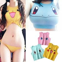 2019 Harajuku Sexy Girls Cosplay Costume Pokemon Pikachu Tops Print Tank Tops Colorful Sleeveless Tee Vest Elf Jenny Turtle 3D