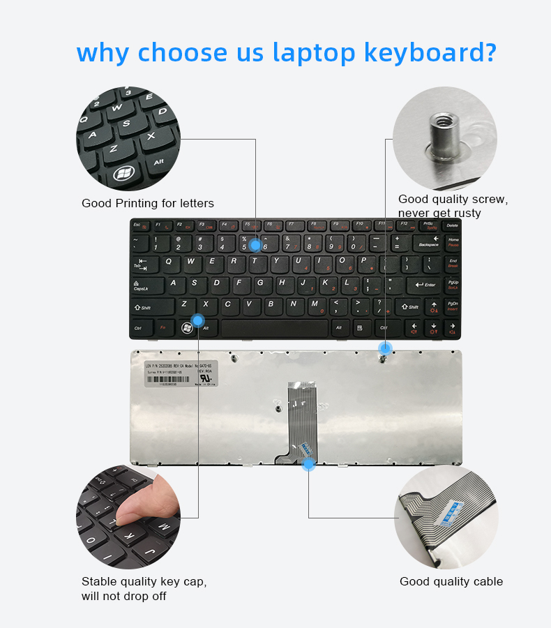 100% New US  computer  keyboard for Lenovo IdeaPad G470 G475 B470 V470  laptop keyboard  with black frame