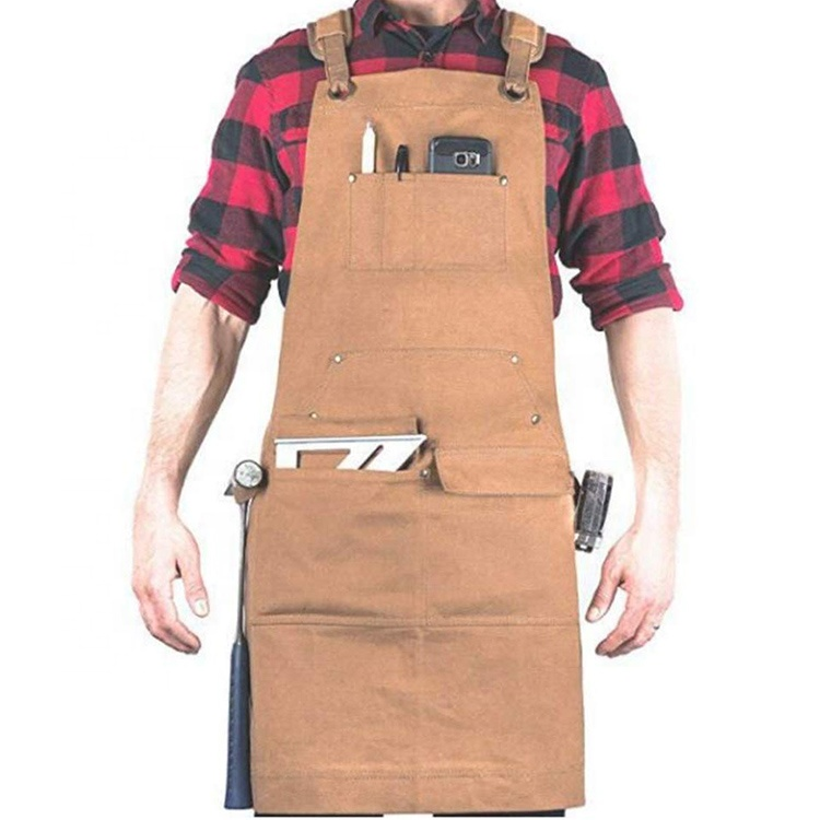 AFTAYWTA042 Canvas Artisan Heavy Duty Apron With Cross Back Straps Work Gardening Garden Aprons