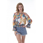 Blouse Summer Fashion Casual Woven Off Shoulder Long Sleeve Print Blouse