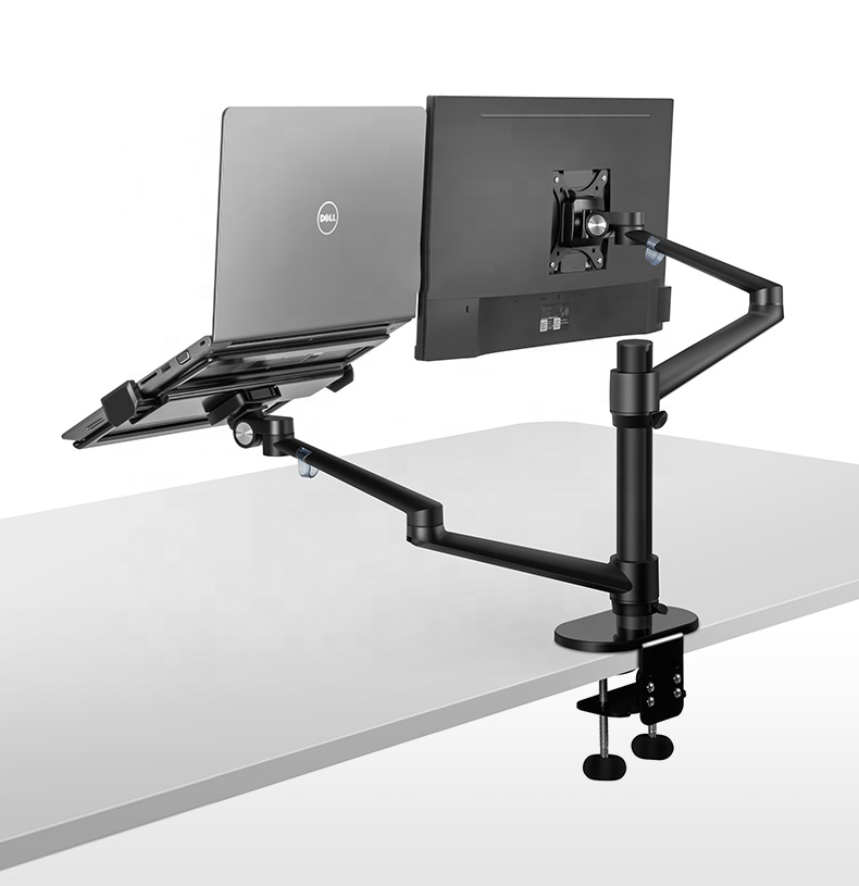 3-em-1 Multimídia Rotatable de alumínio Mesas de Volta, titular Do Monitor LCD + Laptop Stand Holder OA-7 para 10-15 Notebook polegadas e dentro
