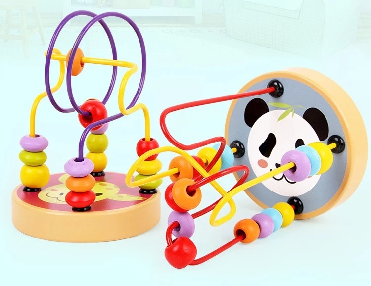 Panda/Sun/Bird/Hedgehog/Planet/Giraffe Baby Toy Activity Wooden Bead Maze Kids Educational Learning Toys