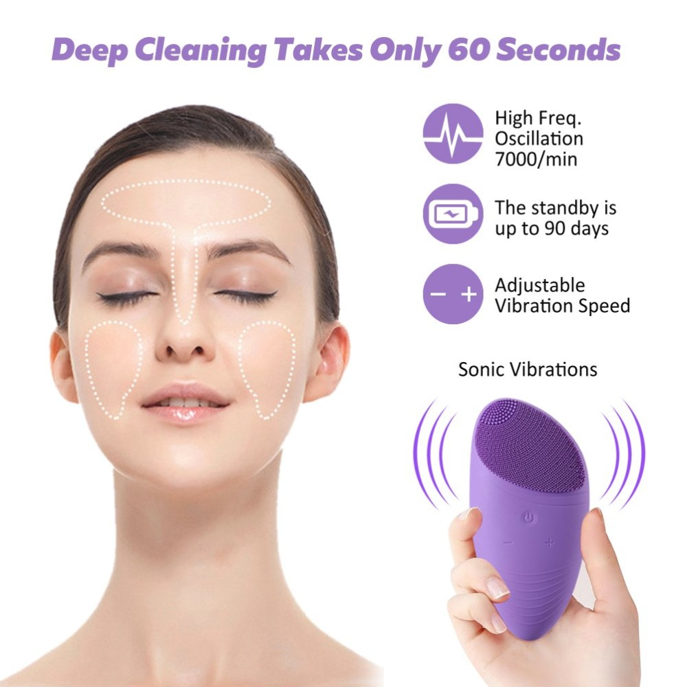 Multifunctional Portable Electric Beauty Massager Tool Silicone Face Exfoliate Brush Cleansing Brush Face Beauty Facial Massager