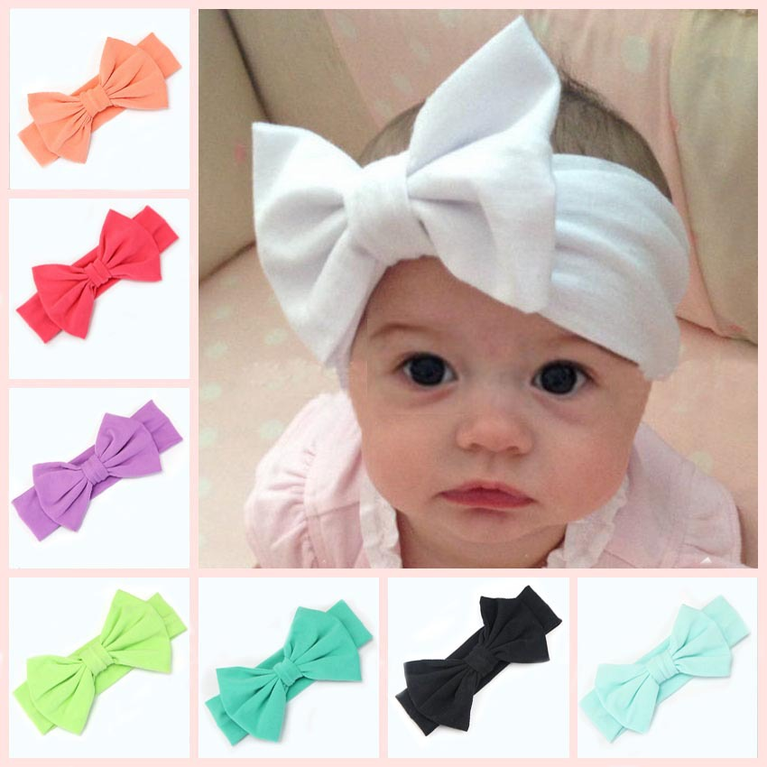 Children Cute Princess Infant Headwear Head Wrap For kids girl headband Stretch cotton Toddler baby hair band big Messy bows