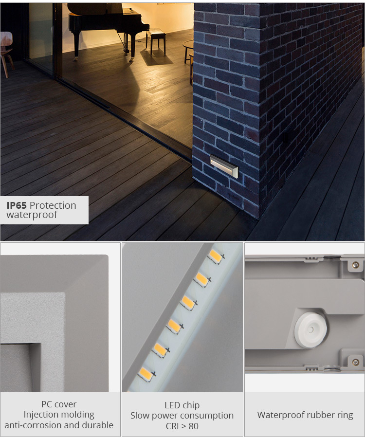 Savia ABS and PC Anti-rust Seaside Square Corner IP65 3w Outdoor Wall Mounted LED Corner Step Stair Outdoor Lamp Step Lighting